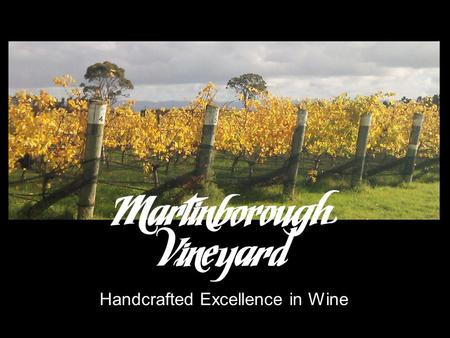 Handcrafted Excellence in Wine. CORE MESSAGE Established in 1980, Martinborough Vineyard is an icon in New Zealand winemaking history. The first to plant.