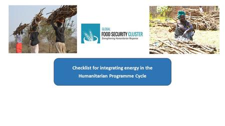 Checklist for integrating energy in the Humanitarian Programme Cycle.
