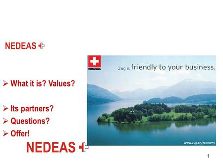 1  What it is? Values?  Its partners?  Questions?  Offer!