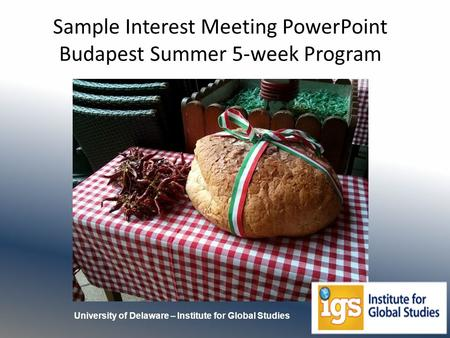 Sample Interest Meeting PowerPoint Budapest Summer 5-week Program University of Delaware – Institute for Global Studies.