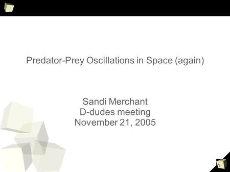 1 Predator-Prey Oscillations in Space (again) Sandi Merchant D-dudes meeting November 21, 2005.