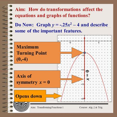 Aim: How do transformations affect the equations and graphs of functions? Do Now: Graph y = -.25x2 – 4 and describe some of the important features. Axis.