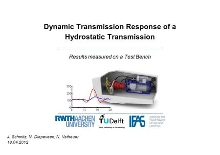 Dynamic Transmission Response of a Hydrostatic Transmission Results measured on a Test Bench J. Schmitz, N. Diepeveen, N. Vatheuer 18.04.2012.