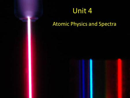Unit 4 Atomic Physics and Spectra. The Electromagnetic Spectrum.