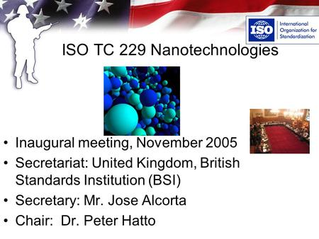 ISO TC 229 Nanotechnologies Inaugural meeting, November 2005 Secretariat: United Kingdom, British Standards Institution (BSI) Secretary: Mr. Jose Alcorta.
