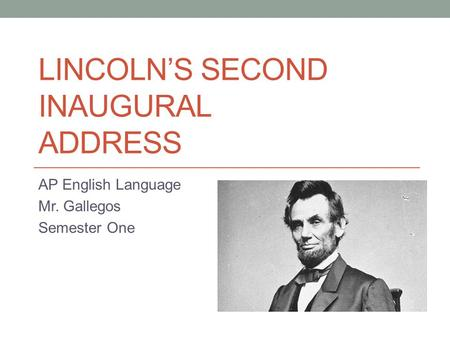 Lincoln's Second Inaugural Address