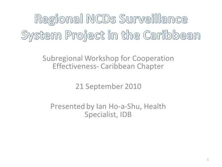 Subregional Workshop for Cooperation Effectiveness- Caribbean Chapter 21 September 2010 Presented by Ian Ho-a-Shu, Health Specialist, IDB 1.
