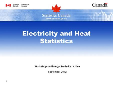 Workshop on Energy Statistics, China September 2012 Electricity and Heat Statistics 1.