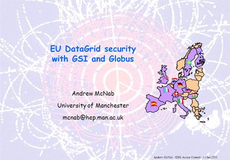 Andrew McNab - EDG Access Control - 14 Jan 2003 EU DataGrid security with GSI and Globus Andrew McNab University of Manchester