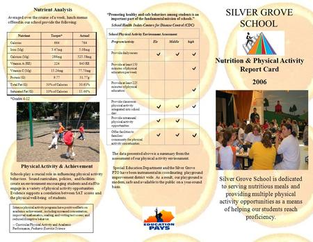 Nutrition & Physical Activity Report Card 2006 Silver Grove School is dedicated to serving nutritious meals and providing multiple physical activity opportunities.