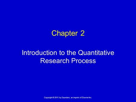 Introduction to the Quantitative Research Process