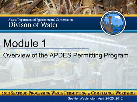 1 Module 1 Overview of the APDES Permitting Program Seattle, Washington April 24-25, 2012.
