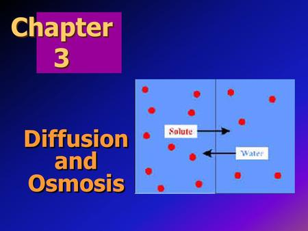 Chapter 3 Diffusion and Osmosis.