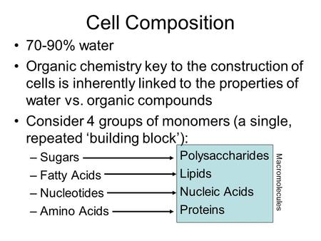 Cell Composition 70-90% water Organic chemistry key to the construction of cells is inherently linked to the properties of water vs. organic compounds.