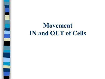 Movement IN and OUT of Cells Substances move in and out through the cell membrane Moving from high to low concentration DOES NOT REQUIRE ENERGY by the.
