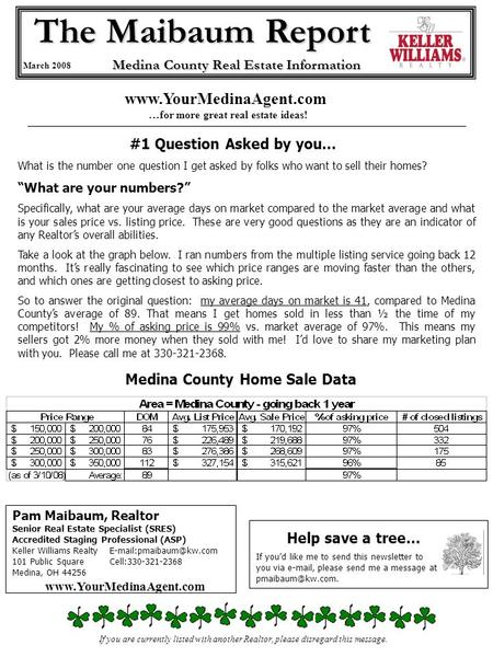 The Maibaum Report March 2008 Medina County Real Estate Information Pam Maibaum, Realtor Senior Real Estate Specialist (SRES) Accredited Staging Professional.