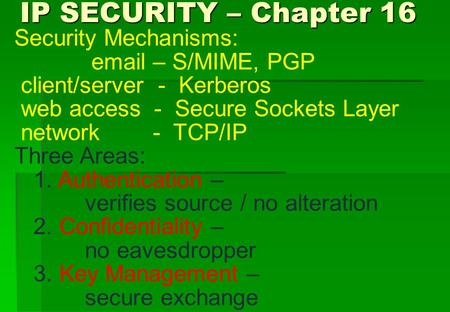IP SECURITY – Chapter 16 IP SECURITY – Chapter 16 Security Mechanisms: email – S/MIME, PGP client/server - Kerberos web access - Secure Sockets Layer network.