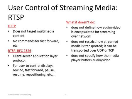 User Control of Streaming Media: RTSP