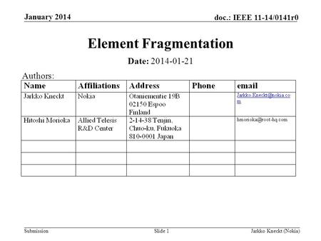 Submission doc.: IEEE 11-14/0141r0 January 2014 Jarkko Kneckt (Nokia)Slide 1 Element Fragmentation Date: 2014-01-21 Authors: