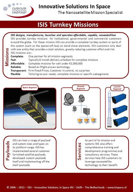 ISIS Turnkey Missions ISIS designs, manufactures, launches and operates affordable, capable, nanosatellites ISIS provides turnkey missions for institutional,
