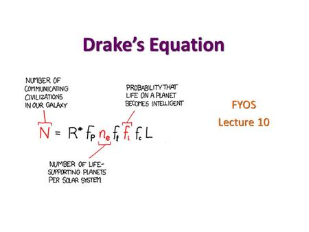 Drake's Equation FYOS Lecture 10. Exam2 Main transits : planet blocks light from the star Main transits : planet blocks light from the star 2ndary transits.