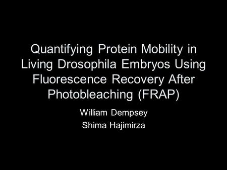 Quantifying Protein Mobility in Living Drosophila Embryos Using Fluorescence Recovery After Photobleaching (FRAP) William Dempsey Shima Hajimirza.