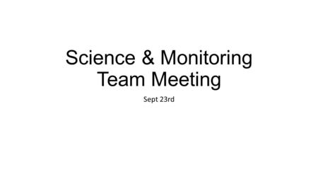 Science & Monitoring Team Meeting Sept 23rd. Agenda Introductions Overview of CPRW & CO Conservation Exchange Review draft charter/workplan Watershed.