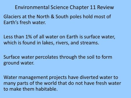 Environmental Science Chapter 11 Review