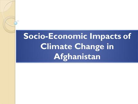 Socio-Economic Impacts of Climate Change in