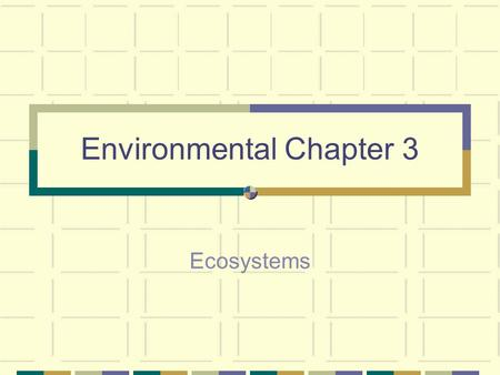 Environmental Chapter 3 Ecosystems. An ecosystem is all of the living and non-living things in a given area 2 factors – Biotic – all of the living things.