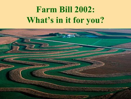 Farm Bill 2002: What's in it for you?. conserving croplands improving water quality managing for wildlife 2002 Farm Bill: What's in it for you?
