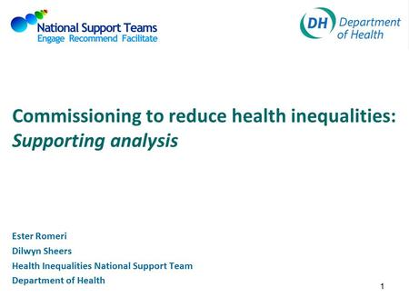 Commissioning to reduce health inequalities: Supporting analysis