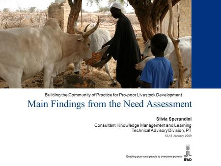 Building the Community of Practice for Pro-poor Livestock Development Main Findings from the Need Assessment Silvia Sperandini Consultant, Knowledge Management.