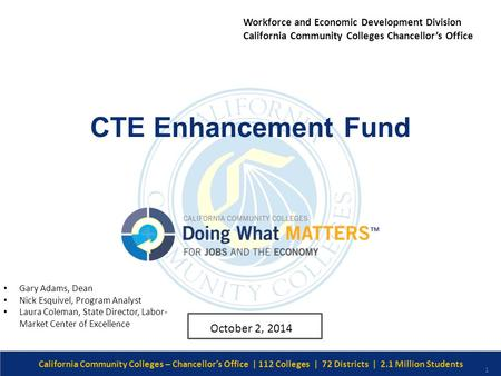 Date/Version # CTE Enhancement Fund California Community Colleges – Chancellor's Office | 112 Colleges | 72 Districts | 2.1 Million Students 1 October.