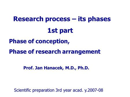 Research process – its phases 1st part