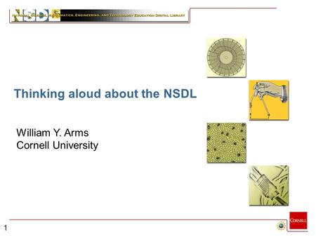 1 Building the NSDL William Y. Arms Cornell University Thinking aloud about the NSDL.