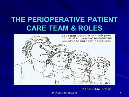PRPD/DN/DM/PON/2010 1 THE PERIOPERATIVE PATIENT CARE TEAM & ROLES PRPD/DN/DM/PON/10.