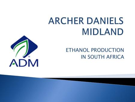 ETHANOL PRODUCTION IN SOUTH AFRICA.  World leader in agricultural processing, including ethanol  Looking to expand and diversify bioenergy product portfolio.