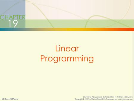 19 Linear Programming CHAPTER