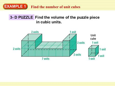 EXAMPLE 1 Find the number of unit cubes 3- D PUZZLE