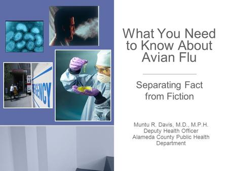 What You Need to Know About Avian Flu Muntu R. Davis, M.D., M.P.H. Deputy Health Officer Alameda County Public Health Department Separating Fact from Fiction.
