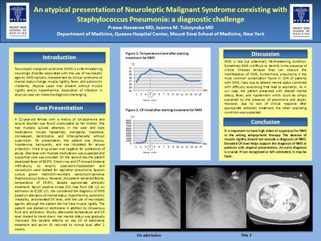 An atypical presentation of Neuroleptic Malignant Syndrome coexisting with Staphylococcus Pneumonia: a diagnostic challenge Preaw Hanseree MD, Joanna M.