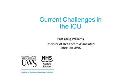 Current Challenges in the ICU Prof Craig Williams Institute of Healthcare Associated Infection UWS.