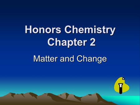Honors Chemistry Chapter 2