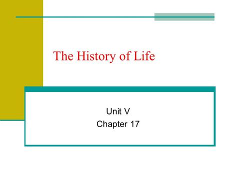 The History of Life Unit V Chapter 17.
