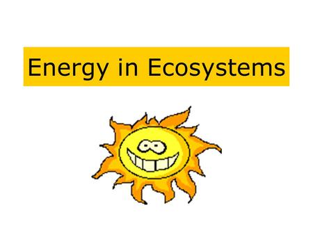 Energy in Ecosystems. The Flow of Energy The energy in ecosystems does not flow in cycles like matter does -such as nitrogen, water, carbon - but flows.