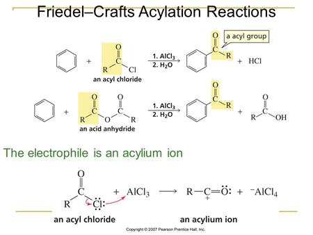 Friedel–Crafts Acylation Reactions The electrophile is an acylium ion.