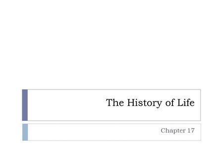 The History of Life Chapter 17. Fossils  Preserved traces and remains of ancient life.