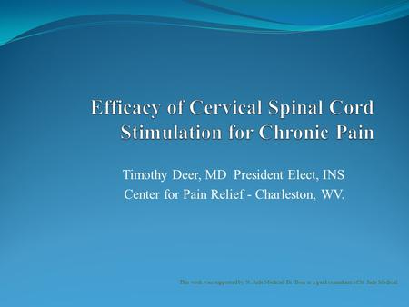 Efficacy of Cervical Spinal Cord Stimulation for Chronic Pain