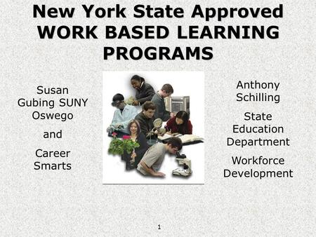 1 New York State Approved WORK BASED LEARNING PROGRAMS Susan Gubing SUNY Oswego and Career Smarts Anthony Schilling State Education Department Workforce.